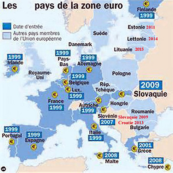 carte zone euro 2015