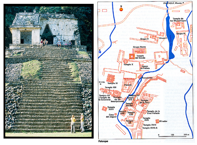 Palenque temple et plan general