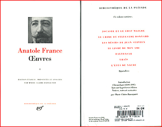 anatole france oeuvres pleiade tome 1