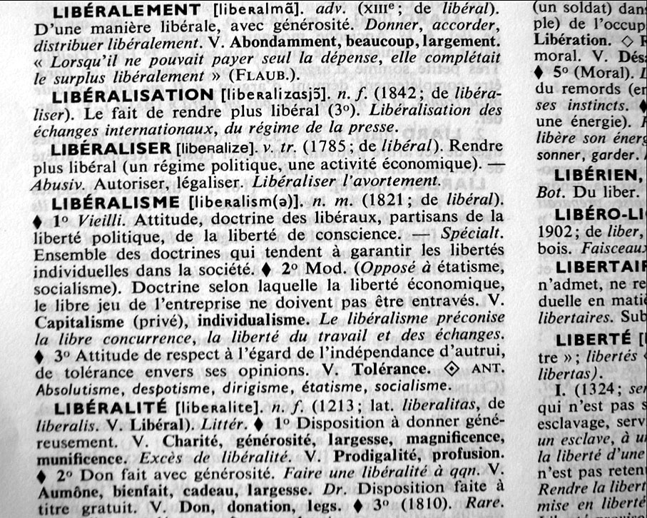 Liberal définition Robert