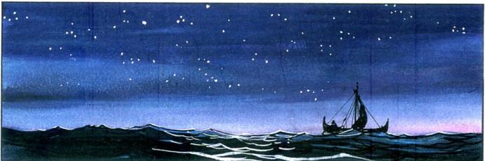 bateau viking sur la mer