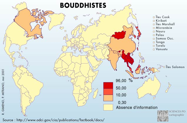 bouddhistes carte repartition