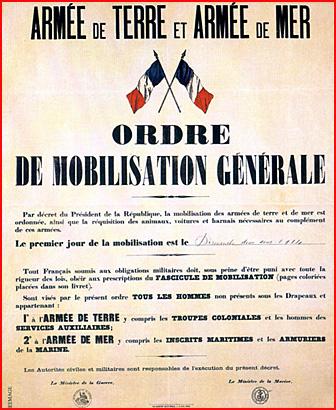 1914 ordre de mobilisation generale