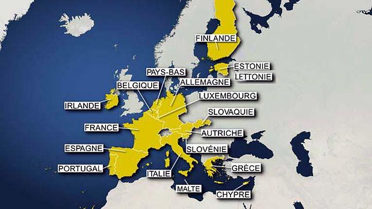 zone euro carte 18 pays au 1 janvier 2014