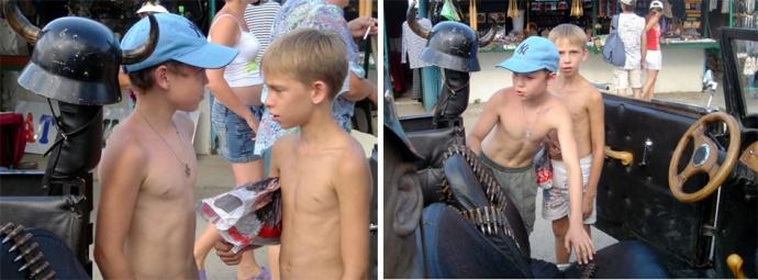 yalta gamins russes amis torse nu dans la voiture nazie