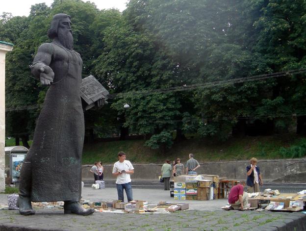 lvov ukraine prote proletaire marche aux livres