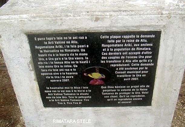 RIMATARA stèle commémorative