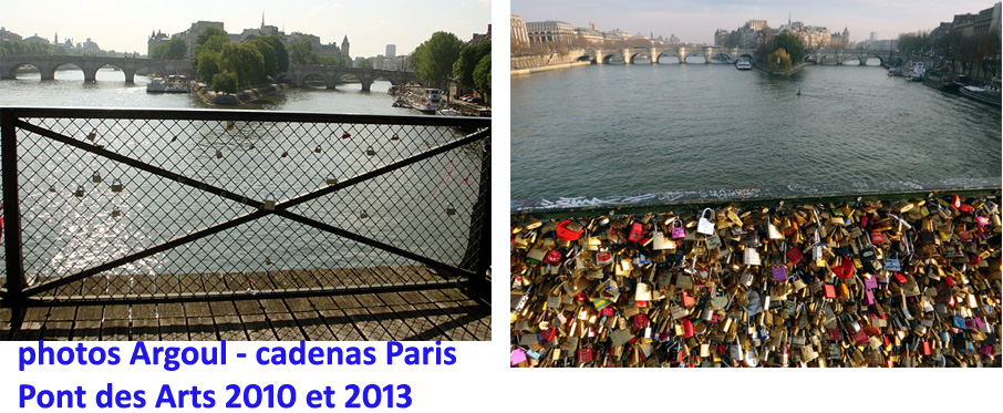 cadenas ponts de paris 2010 et 2013