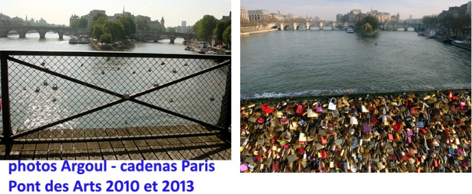 cadenas ponts de paris 2010 et 2013