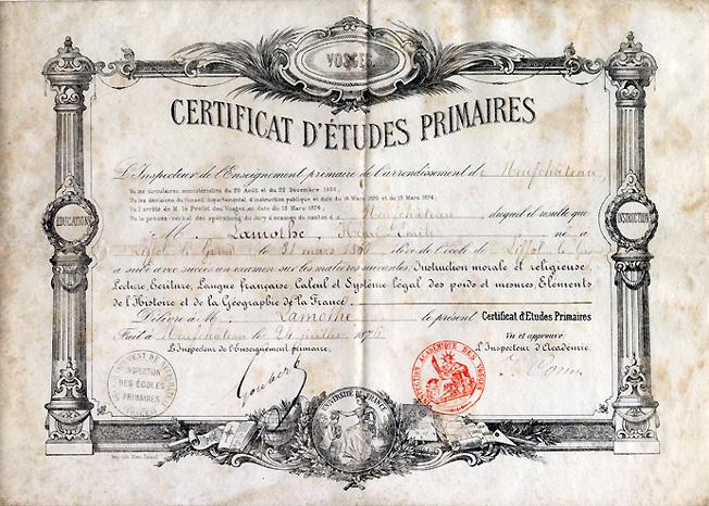 certificat d etudes primaires