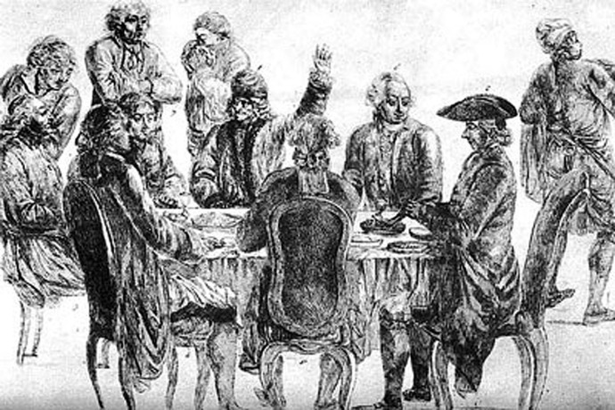 Voltaire Diderot au Procope