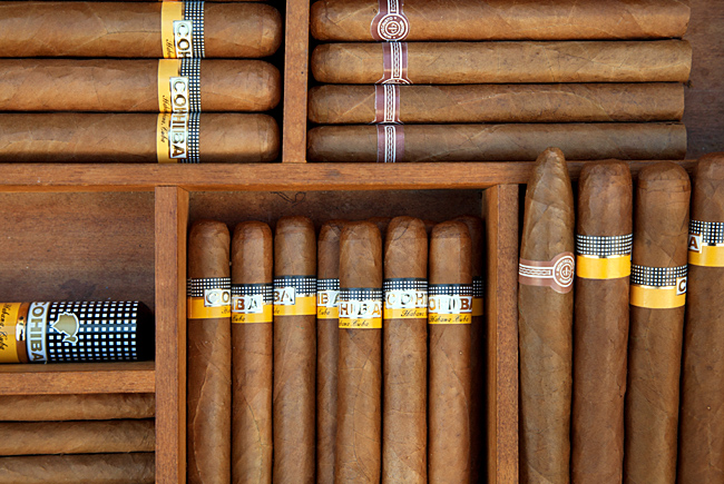 Cohiba cigars in disaplay. Havana (La Habana), Cuba