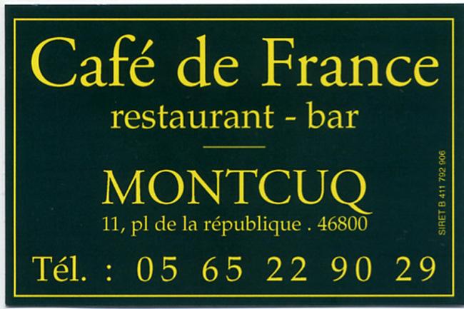 Montcuq café de France carte