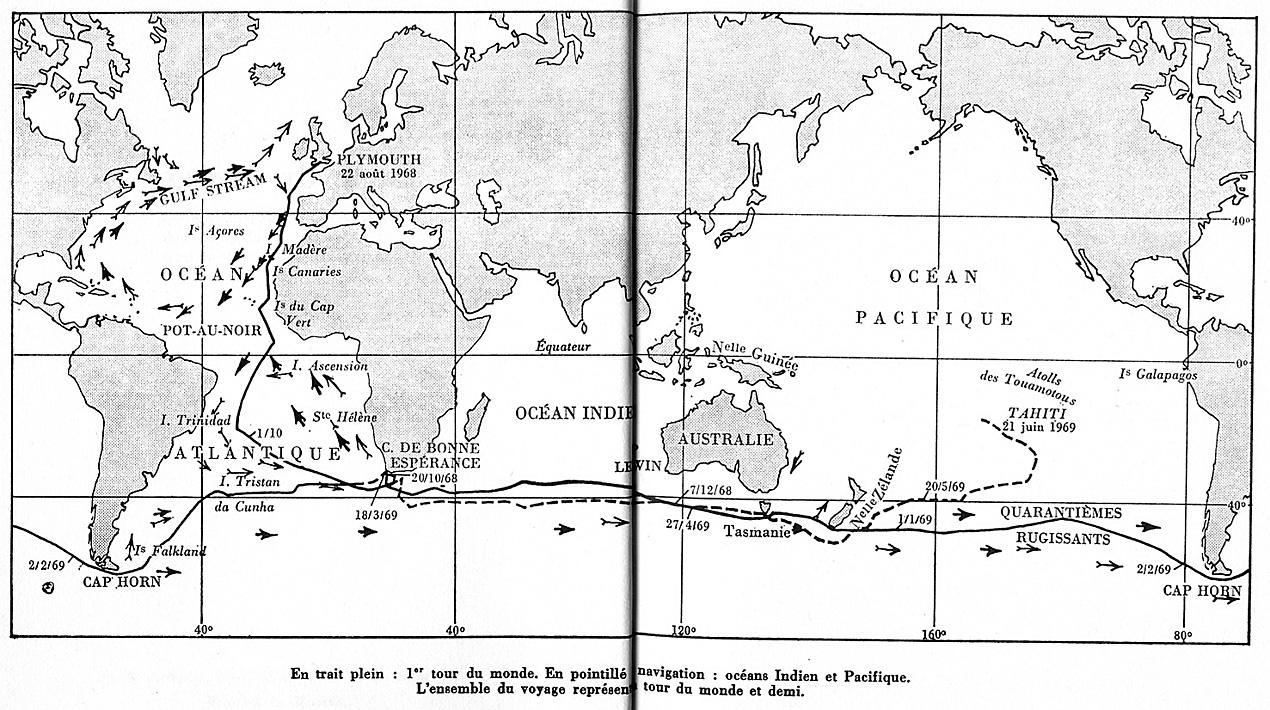 Moitessier La longue route carte tour du monde et demi