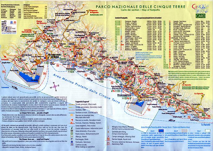 carte parc national cinque terre