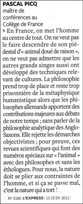 Pascal Picq France metaphysique
