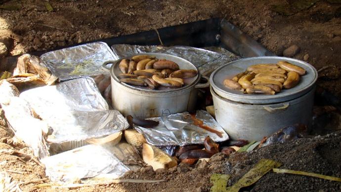 plats cuits bananes et poi