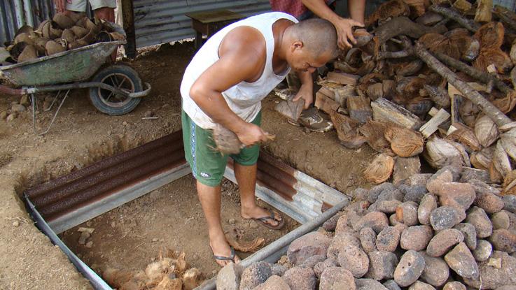 preparation du four tahitien