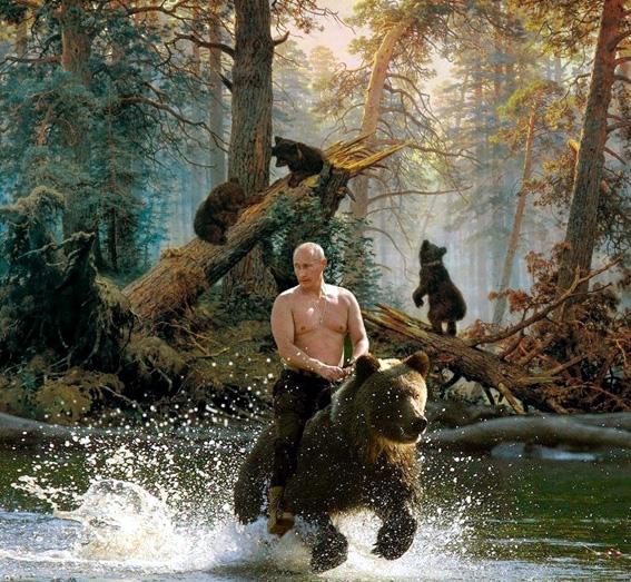 vladimir poutine chevauchant un ours