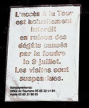 montcuq acces a la tour interdit