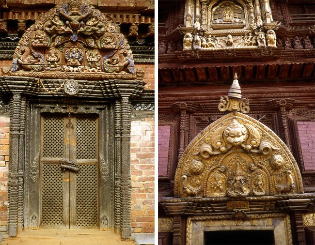patan durban square portes bois sculpte nepal