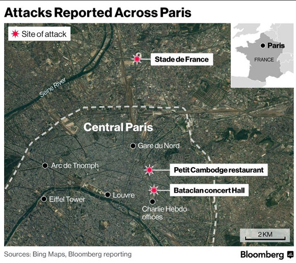 paris attentats du vendredi 13 novembre 2015 carte
