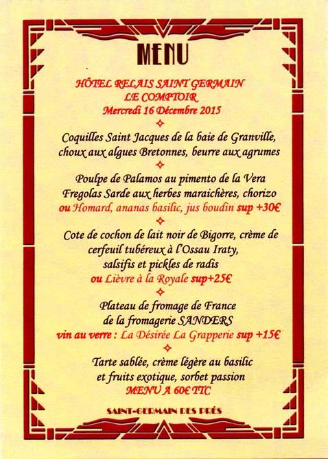 Paris menu le comptoir yves camdeborde argoul - Le comptoir du relais restaurant menu ...