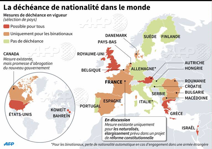 Decheance de nationalite carte du monde AFP