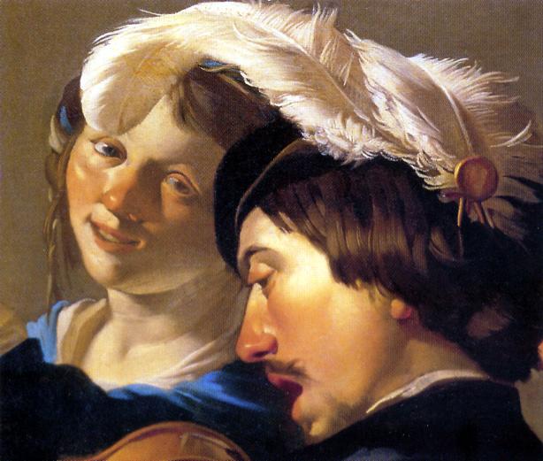 Femme et homme à chapeaux 17ème
