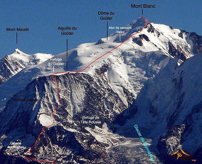 mont blanc itineraire par tete rousse et le gouter