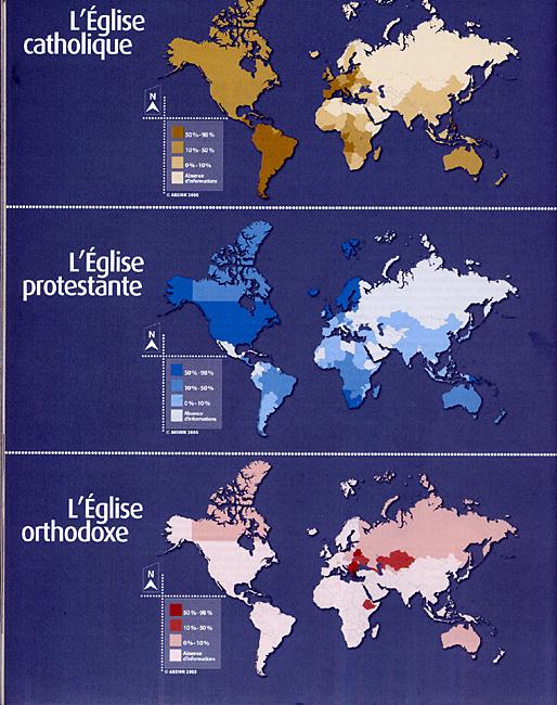 Christianisme les 3 églises carte