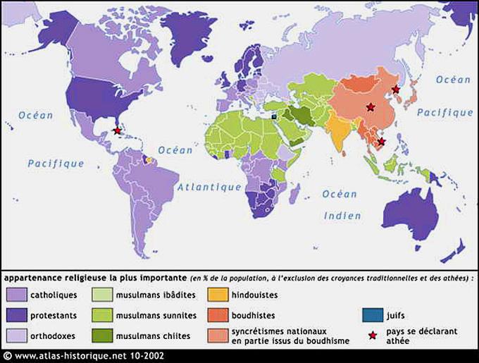religions dans le monde carte