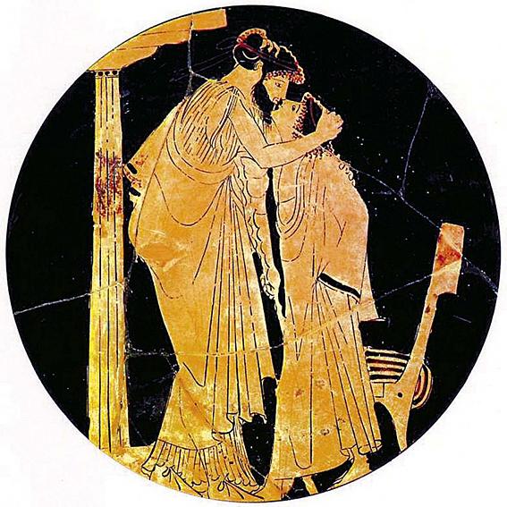 baiser eraste et eromene vase grec