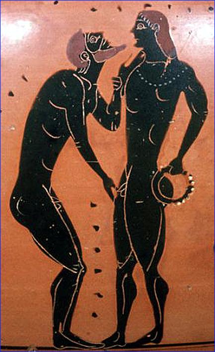 caresse eraste et eromene vase grec