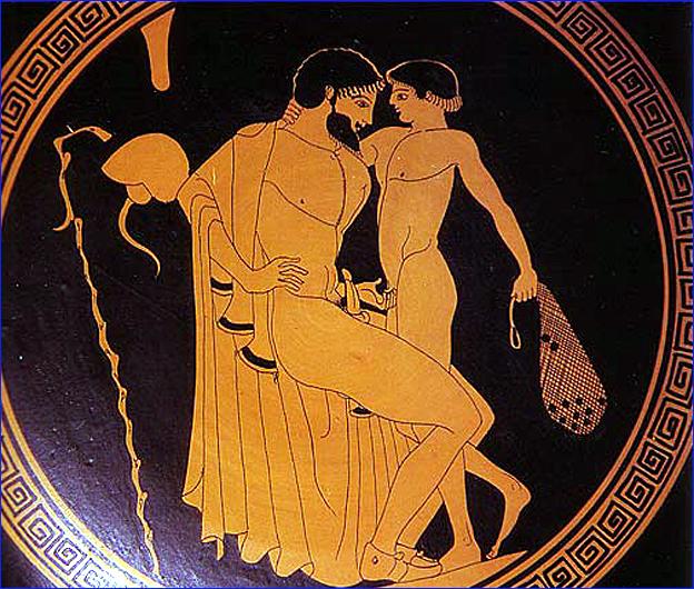 eraste et eromene vase grec