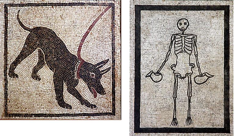 naples-musee-archeologique-cave-canem-et-squelette-mosaique