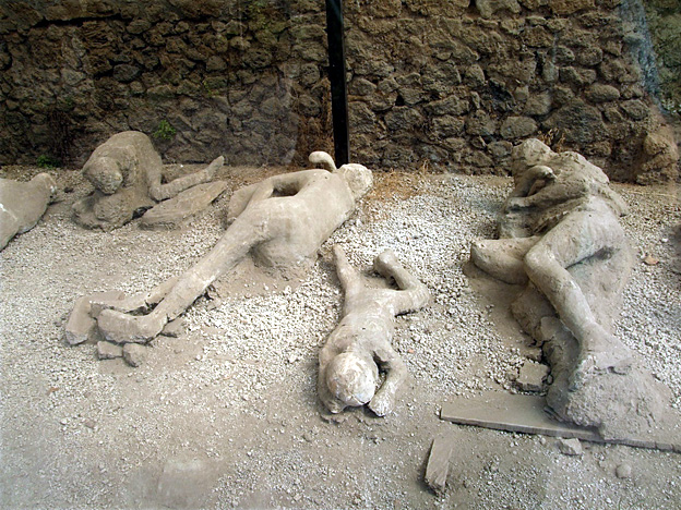 Pompei - calchi nell'orto dei fuggiaschi
